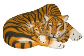 Тигрица с тигрёнком 17.29 (120*102*47) 0
