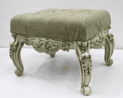 Банкетка малая, в прихожую, (53*43*45см) слоновая кость с зол.патиной/рогожка кремовая, GF21-01