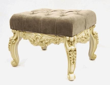 Банкетка малая для прихожей, (53*43*45см) слоновая кость с патиной коньяк/велюр бежевый, GF21-07