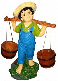 Мальчик с 2-мя кашпо 2.04 - фигура садовая (55*40см)