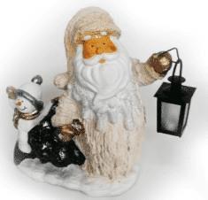 Дед мороз со снеговиком и фонарём фигура (H-40см) 30.55А
