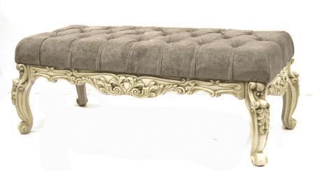 Банкетка большая для прихожей, (150см*40*48см), слоновая кость с патиной коньяк/рогожка бежевая, GF21-45