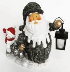 Дед мороз со снеговиком и фонарём фигура (H-40см) 30.55