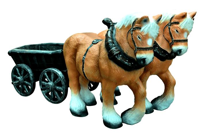 Лошадки с повозкой 19.02 - фигура садовая (высота 75см)