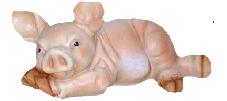 Свинка лежачая 14.03 - фигура садовая (22см)