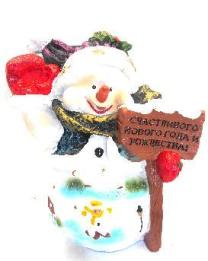 Снеговик с табличкой (H-39см) 30.05