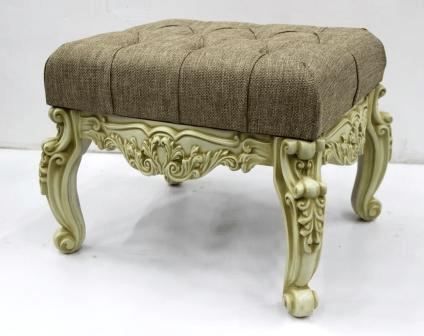 Банкетка мягкая в прихожую, малая, (53*43*45см) слоновая кость с патиной коньяк/рогожка бежевая, GF21-06